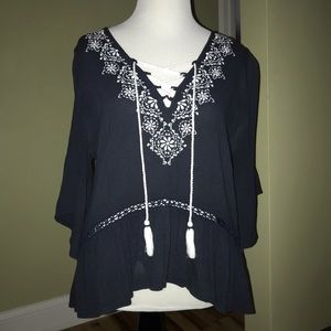 abercrombie & fitch dark blue flowy blouse!